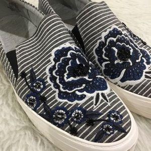 Nine West striped floral embellished sneakers